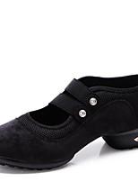 Women's Dance Shoes Sneakers Velvet Low Heel Black/Red/Green