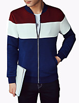 Men's Fashion Striped Patchwork Stand Collar Outdoor Casual Baseball Jacket;Polyester/Plus Size