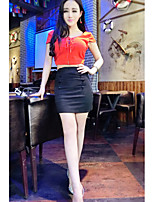 Women's Party/ Club Sexy Summer T-shirt Skirt,Solid Deep V Short Sleeve Red / White / Green Others Medium