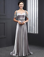 Formal Evening Dress Sheath / Column Scoop Sweep / Brush Train Charmeuse with Beading / Sequins