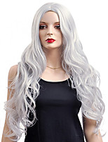 European Silver Grey Color Long Wavy Capless Synthetic Wigs For Women