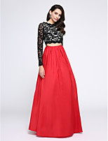 TS Couture® Formal Evening Dress - Two Pieces A-line Jewel Floor-length Lace / Taffeta with Lace