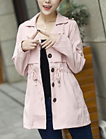 Women's Casual/Daily Simple Trench Coat,Solid Shirt Collar Long Sleeve Fall Pink / Green Cotton Thin