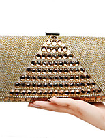 Women Bags All Seasons PU Polyester Evening Bag with Rhinestone for Wedding Event/Party Formal Blue Gold Black Silver Red