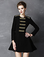 Women's Going out Sophisticated Trench Coat,Solid Round Neck Long Sleeve Fall Black Cotton Thin