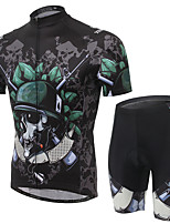 Men's Cycling Clothing Sets New Fashion Skeleton Warriors Pattern Bicycle Sports Comfortable Short  Cycling Jersey 1 Set