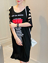 Women's Casual/Daily / Plus Size Simple Loose Dress,Letter Boat Neck Above Knee Short Sleeve Black Cotton Spring / Summer Mid Rise