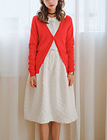 Women's Going out /   Regular Cardigan,Solid Red / Beige / Black / Gray / Purple Off Shoulder Long Sleeve Cotton Fall