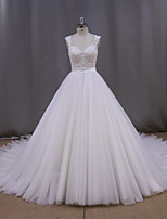 Ball Gown Wedding Dress Court Train V-neck Tulle with Appliques / Beading / Sash / Ribbon