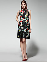 Boutique S Women's Going out Chinoiserie Swing Dress,Print Round Neck Above Knee Sleeveless Black Polyester Summer