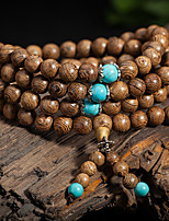 108*8mm Natural Sandalwood Buddhist Wenge Prayer Beads Bracelet Weed Turquoise Bangle Women Men Jewelry Wholesale