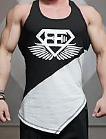 Men's Print Sport Tank Tops,Cotton Sleeveless-Black / White