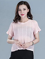 Women's Casual/Daily Street chic Regular Pullover,Solid Round Neck Short Sleeve Cotton Summer Medium