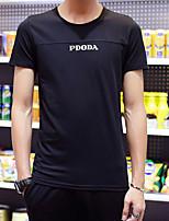 Print-Informeel-Heren-Rayon-T-shirt-Korte mouw Zwart / Rood / Wit / Grijs