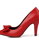 Damen-High Heels-Kleid / Lässig-PU-Stöckelabsatz-Flache Schuhe-Schwarz / Rot