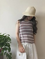 Women's Casual/Daily Simple Regular Pullover,Striped Black / Brown Round Neck Sleeveless Cotton Spring Medium