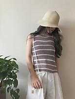 Damen Standard Pullover-Lässig/Alltäglich Einfach Gestreift Schwarz / Braun Rundhalsausschnitt Ärmellos Baumwolle Frühling Mittel