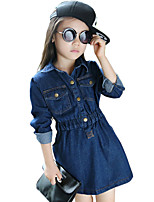 Girl's Cotton Spring/Autumn Fashion Solid Color Long Sleeve Cowboy Denim Dress