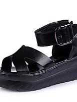 Mujer-Tacón Cuña-Cuñas-Zapatos de taco bajo y Slip-Ons-Casual-Semicuero-Negro / Blanco