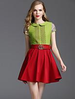 Viva Vena® Women's Peter Pan Collar Short Sleeve Above Knee Dress-VA88231