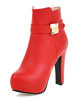 Women's Boots Winter Heels / Platform / Round Toe Dress Chunky Heel Zipper Black / Red / Gray Others