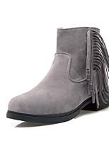 Черный / Желтый / Серый-Женский-Для прогулок / Для офиса / На каждый день-Флис-На толстом каблуке-Удобная обувь / С круглым носком-Ботинки