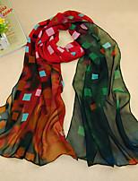Women's Chiffon Grid Print Scarf,Red/Blue/Orange/Yellow/Pink