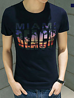 Masculino Camiseta Algodão Estampado Manga Curta Casual-Azul / Branco