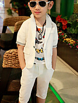 Boy's Casual/Daily Solid Clothing Set,Linen Summer White