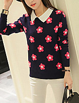 Women's Going out / Casual/Daily Street chic Regular Pullover,Floral Red / Yellow Stand Long Sleeve Acrylic Spring
