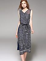 Angel Women's Going out Street chic Chiffon Dress,Patchwork V Neck Asymmetrical Sleeveless Polyester Summer