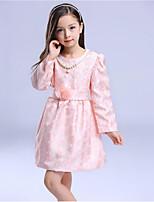 Vestido Chica de-Noche-Floral-Algodón-Invierno / Primavera / Otoño-Rosa