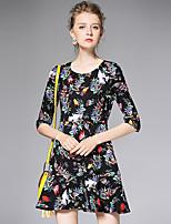AFOLD® Women's V Neck 1/2 Length Sleeve Mini Dress-6007