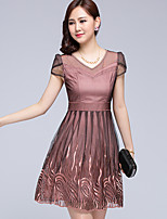 Women's Plus Size Street chic A Line Dress,Patchwork V Neck Above Knee Short Sleeve Pink Polyester Summer / Fall