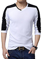 Men's Solid / Color Block Casual / Plus Size T-Shirt,Cotton Long Sleeve-Black / White / Gray