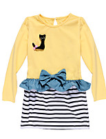 Kids Girls Spring/Fall Causal One-Piece Long Sleeve Dress Suit with Striped Skirt Set for 2-7 Years Outfit
