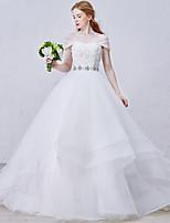 Princesa Vestido de Boda Corte Corazón Organza / Tul con Cuentas / Cristal / Flor