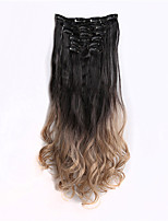 7Pcs/Set Clips In On Dip Dye Ombre Two Tone Synthetic Straight Hair Extension Hairpieces,1BT16 BlackTGray 130g,56cm