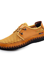 Men's Oxfords Spring / Summer / Fall Flats Tulle Casual Flat Heel Lace-up Blue / Brown / Yellow / Green Walking
