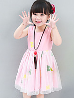 Girl's Casual/Daily Print Dress,Polyester Summer Pink / White