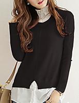 Women's Casual/ Regular Pullover,Solid Pink / Black / Gray / Green Round Neck Long Sleeve Acrylic Fall / Winter Medium