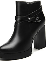 Women's Boots Spring / Fall /Winter Heels Synthetic Office & Career / Casual Chunky Heel Black / Red Snow Boots