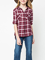 Girl's Casual/Daily Houndstooth Blouse,Rayon Spring / Fall Black / Red