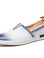 Herren-Flache Schuhe-Büro / Lässig-Leder-Flacher Absatz-Rundeschuh / Flache Schuhe-Schwarz / Gelb / Weiß