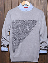 Men's Print Casual Pullover,Cotton Long Sleeve Black / White / Gray