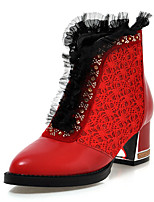 Women's Shoes Winter Fashion Boots / Round Toe Wedding Dress Chunky Heel Stitching Lace / Zipper