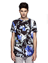 Men's Print Casual T-Shirt,Polyester / Spandex Short Sleeve-Black