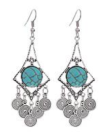 2016 Vintage Big Doughnuts Shape Geometric Earrings Turquoise Beads Statement Earrings Jewelry