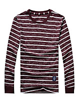 Men's Striped Casual / Sport / Plus Sizes T-Shirt,Cotton Long Sleeve-Blue / Red / White