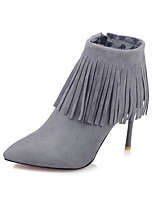 Women's Shoes Fall / Winter Fashion Boots / Pointed Toe Boots Dress Stiletto Heel Zipper / Tassel Black / Red / Gray